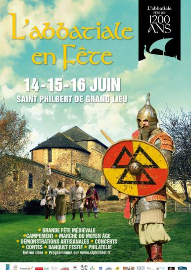 Affiche week-end médiéval abbatiale déas saint philbert de grand lieu